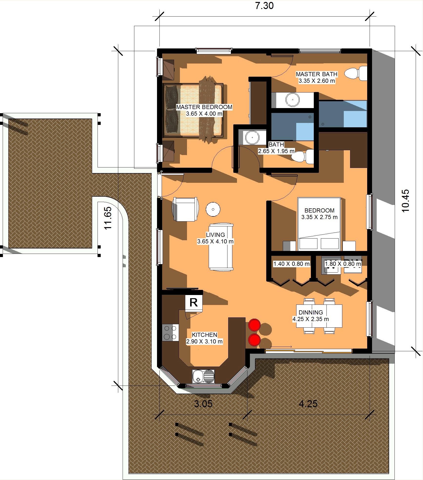100 square meters house plan house plans - Houses undersquare meters ...