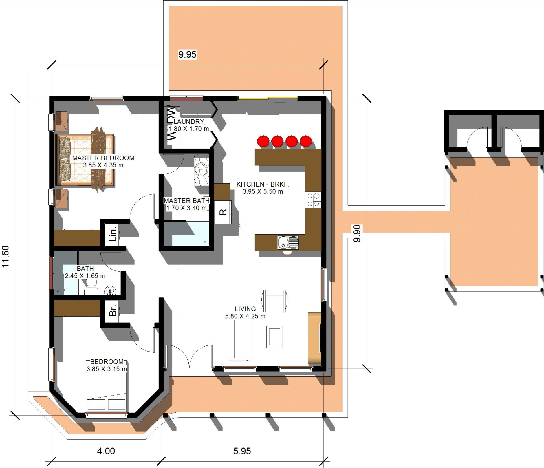 100 square meter house floor plan